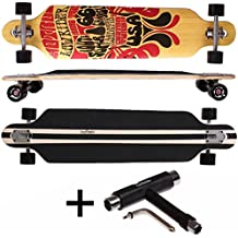 FunTomia® Freerider Longboard - 107cm x 26cm - rodamientos ABEC-11 - hecho con 9 capas de madera de arce (Route66 + T-Tool)