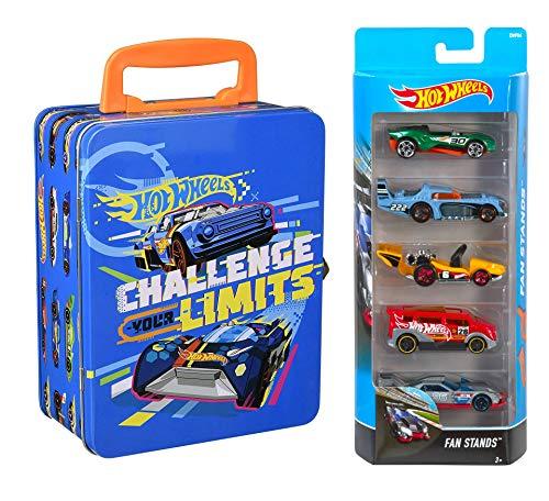 Hot Wheels Auto-Sammelkoffer Metall + 5 Auto Pack Geschenkset