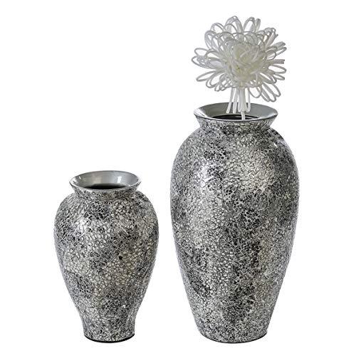 Casablanca - Vase Cascada Keramik silberfarben/weiß/schwarz Oberfläche aus Eierschalen handgearbeitet