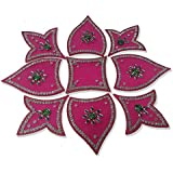 Handmade Designer Pink Rangoli - With Tulip Shaped Petals And Modak Shaped Design Decorated With Silver Stones And Green Beads On Pink Elongated Square Shaped Plastic Base - 9 Pieces Set - Packed In Plastic Box