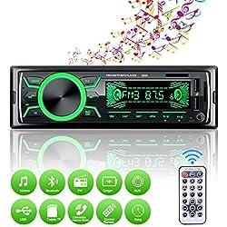 Autoradio Bluetooth Mains Libres, 4x60W Radio Voiture Support FM/USB/MP3/WMA/TF/AUX +Télécommande,7 Couleurs d'Eclairage,Soutien iOS, Android