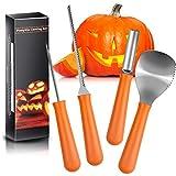 Stanbow Halloween Kürbis Schnitzset 4 Stück Edelstahl Kürbis Schnitzwerkzeuge mit 10Pcs Jack-O-Lantern Schnitzmuster für Kinder Halloween Dekoration