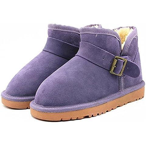 Bajo el invierno cilindro de botas para la nieve tendón en el extremo de la hebilla de cuero botas de las mujeres calientes planas con botas calientes , dream purple , 36