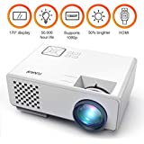 Mini Portable Projector, Funavo 1080p Full Hd 170' Screen Led Video Projector With 50,000 Hour Lamp Life, Supports Fire Tv Stick, Smartphones, Laptops, Xbox, Hdmi, Vga, Sd And USB For Home Theater