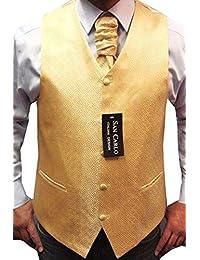 Hommes Qualité motif géométrique mariage d'or gilet ensemble(ref:Gold geometric waistcoat)