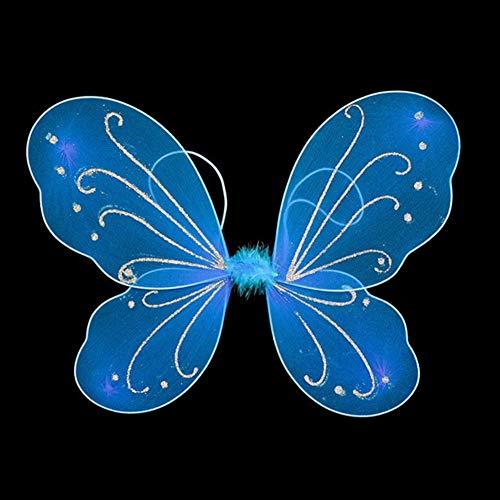 Prinzessin Engel Fee Schmetterling Kinder Mädchen Halloween Kostüm für Garten Partys Geburtstag Geschenke Halloween Kostüme und Mehr (Regenbogen) - Blau, free - Kind Garten Fee Kostüm Mit Flügel
