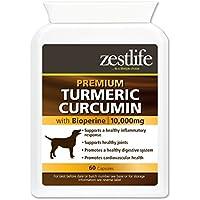 Zestlife Cúrcuma para perros 500 mg extracto equivalente a 10,000 mg. Suplemento antiinflamatorio para articulaciones y caderas. 60 cápsulas