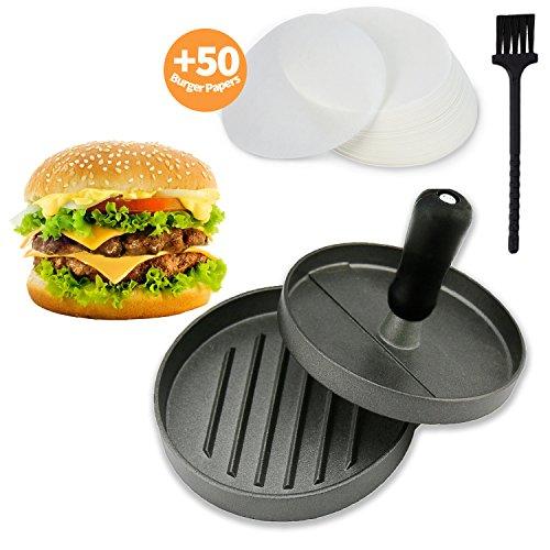 Joyoldelf Hamburgerpresse Set aus Aluguss - Burgerpresse mit 50 Blatt Backpapier und eine Reinigungsbürste, perfekte für Burger, BBQ, Hamburger, Patties, Grill