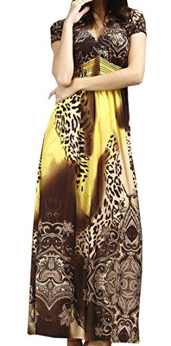 Topsone Sommer Damen Kleid Fashion Boho Leopard Print Lang Kleider Strandkleider Abendkleider Sexy V...