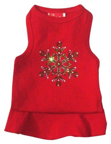 Der Hund Squad Schneeflocke Kleid Weihnachten T-Shirt für Haustiere, xx-small, rot (Rot Schneeflocke Weihnachten Urlaub Kleid)