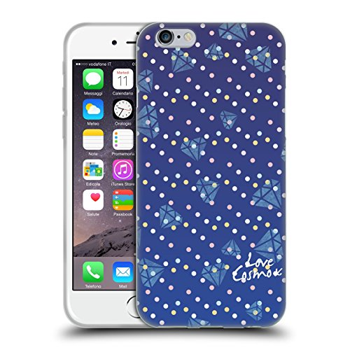 Official Cosmopolitan Blue Triangles Totally 80S Soft Gel Case for Apple iPhone X Dots And Diamonds