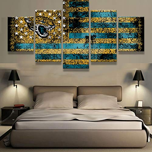 Pfau Jewels Große Premium Qualität Bedruckte Leinwand Wall Art Poster 5Stück/5Pannel Wanddekoration Malerei, Home Decor Bilder-Gedehnt Medium Jacksonville Jaguars Sports Flag Logo (Jaguars Jacksonville Logo-poster)