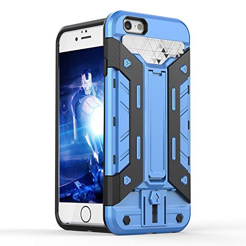 FOGEEK Schutzhülle iPhone 6 Plus Hülle : [Transformer ] Hybrid Armor Defender Case Stoßfest Schutz Tasche Schutzhülle für iPhone 6/6s Plus mit Kartenfach und Ständer-black F