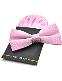 PenSee Mens Silk Hot Dot Pre-Tied Bow Tie & Hanky Card Set - Various Colors