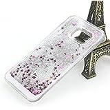 Coque Samsung Galaxy S7 Edge G9350 Liquide Sables Mouvants - Yihya Bling Glitter Étoile Paillettes Étui de Protection Plastique Rigide Transparent Sparkle Quicksands Case Cover - Argent