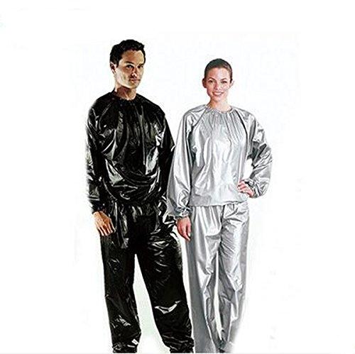 elwow Damen Herren Sauna Sweat Suit Track Gewicht Verlust slimmimg, Fitness Fitness Training Workout für, Long Top und Hosen, XXL (Unten Knöchel-länge Herren)