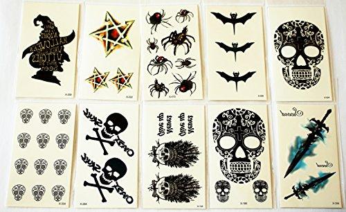 wolga-kreativ-tattoo-set-10-bogen-wie-hauptbild-helloween-totenkopf-schwert-spine-horror-temporare-t