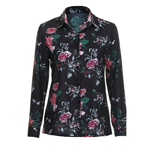 OVERDOSE Sexy Blouse Femme Chic Manches Longue Col V Floral Printed Casual Tops Noir