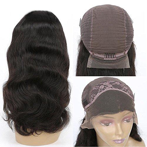 XYLUCKY 100% echte Haar Haar Perücken Halbe Hand gewebt mit 360 Spitze Frontal Front Perücke, natürliche Farbe Perücke für Frauen , 18