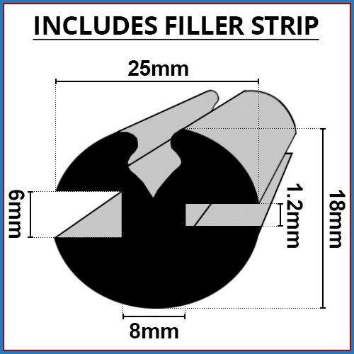 Preisvergleich Produktbild Shower Seal UK Duschdichtung UK claytonrite Gummi Fenster Verglasung Seal / 6 mm x 1, 2 mm / inklusive Filler Leiste / verwendet auf Autos,  Boote,  Wohnwagen und Wohnmobilen / cr005