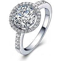 Amesii Anello di fidanzamento o nuziale, in argento Sterling 925, con zirconia cubica, dimensioni dalla 6 alla 10