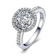 Idea Regalo - Amesii Anello di fidanzamento o nuziale, in argento Sterling 925, con zirconia cubica, dimensioni dalla 6 alla 10 e Lega, 22, colore: US 10, cod. AME