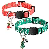 HOMIMP 2 Pack Christmas Cat Collars Quick Release Breakaway Collar Set for Cats, Puppy Red & Green 20-30 cm