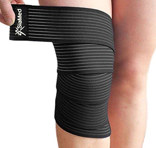 2 x SiaMed Sportbandage - Bandagen - Stützbandagen l elastische Bandagen I Gewichthebergürtel mit Klettverschluss