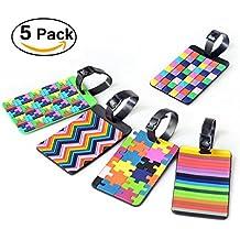 FunRun PVC Etiquetas del equipaje del viaje, 5 piezas con diferentes colores del bolso del equipaje de la maleta