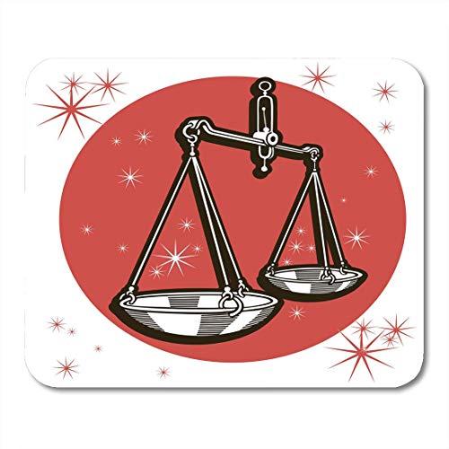 Mausunterlage Astrologischer Tierkreis-Zeichen-Waage-roter Schwarzweiss-Kreis Mousepad für Notizbücher, Tischrechner Mauspads (Hand Astrologische)