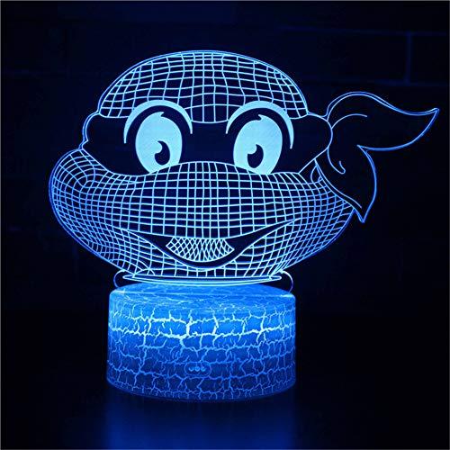 Bbdeng 3D-Nachtlicht Ninja Brille Schildkröte Led-Touch-Farbwechsel Optische T?Uschungslampe Kreative Kinder Mit Schlafender Tischlampe Schlafzimmer Vision ()