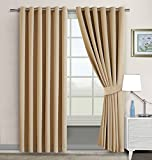 Imperial Rooms Window blinds Blackout Eyelet Curtains Pair of Luxury thermal insulated (Beige/66x72) Ring top for Plain Room darkening Nursery Bedroom Windows treatment with Two Tie Backs