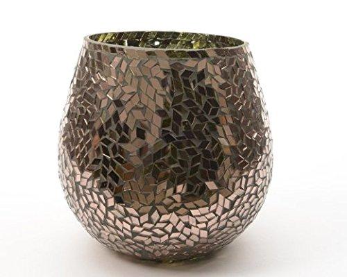 Copper Colour Mosaic Glass Hurricane Candle Holder 15cm