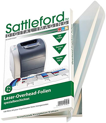 Sattleford Kopierfolien: 100 Overhead-Folien für Laserdrucker & Kopierer 100µ/glasklar (Laser Folie)