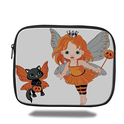 Halloween,Halloween Baby Fairy and Her Cat in Costumes Butterflies Girls Kids Room Decor Decorative,Multicolor,3D Print,Size:13inch ()