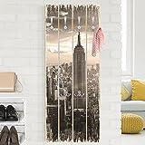 Bilderwelten Wandgarderobe Holz - Manhattan Skyline - Haken Chrom - Hoch, Garderobenpaneel Holzpaneel Kleiderhaken Flurgarderobe Hakenleiste Holz Hängegarderobe inkl. Haken, Größe HxB: 100cm x 40cm