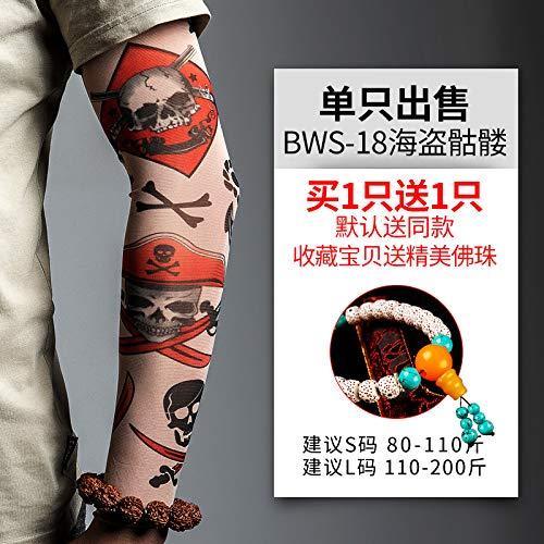 JinRui-Sport Tattoo Sleeve Silk Ärmel Sonnencreme weiblichen Sommer Arm Cover Cover, L, BWS18 Pirat Schädel 2 Packungen