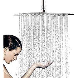 WYJP Pommeau de douche à jet pluie encastrable avec douchette anti-calcaire en acier inoxydable poli Effet miroir brillant 304