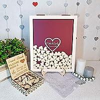 Hugpillows Personalizar corazón rústico Boda Grabado Alternativa de Madera Libro de Invitados Drop Caja de Memoria Firma Libros de firmas 40x50 cm con 150 Piezas pequeños Corazones de Madera