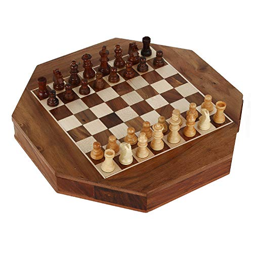 Zap Impex Magnetic Wood octagon Shape Chess Figures Game and Wooden Board Chess Board 9 Inches