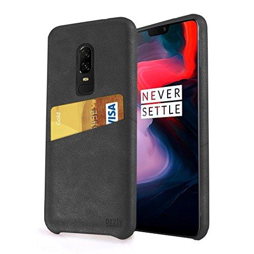 ORZLY® OnePlus 6 Handyhülle Lux Grip Card Case für das OnePlus6 Smartphone (2018 Modell) PU-Leder Schutzhülle mit Tasche für Kreditkarten - SCHWARZ