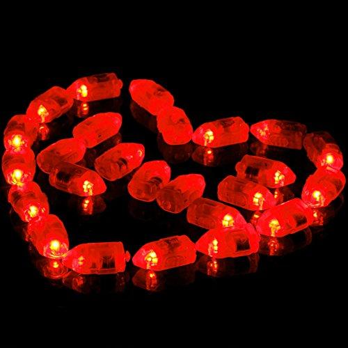 GEZICHTA Mini LED Ballon Lampe, 50Bunt LED Ball Lampen Ballon Leuchten Lichterkette für Papier Laterne Weihnachten Party Home Hochzeit Geburtstag Party Dekoration, Kostüm Making, Rot