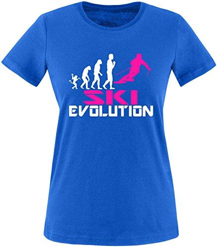 EZYshirt® Ski Evolution Damen Rundhals T-Shirt Royal/Weiss/Pink