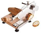 Brotschneidegerät / Brotschneider, Gestell aus Buchenholz, Sägeblatt aus Messerstahl, einstellbare Schnittstärke, Griffschutz / 23 x 21,5 cm | ERK