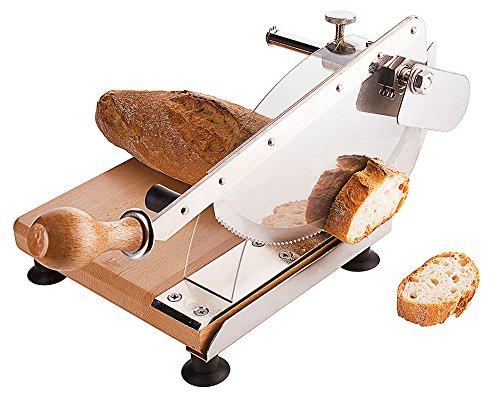 Brotschneidegerät / Brotschneider, Gestell aus Buchenholz, Sägeblatt aus Messerstahl, einstellbare Schnittstärke, Griffschutz / 23 x 21,5 cm   ERK