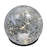 Wohaga Leuchtkugel Lichtkugel Ø12xH11,5cm Glaskugel inkl. 10er LED Lichterkette, warmweiß, Batteriebetrieb, Lichterdeko für Innen Stimmungslicht
