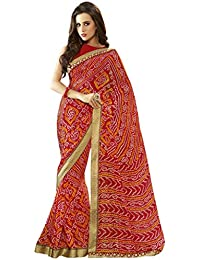 Vastrang Sarees Women's Georgette Bandhani Saree With Blouse Piece - CHN32170_Red_Free Size