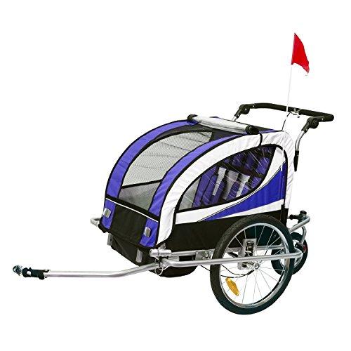 HOMCOM Remolque para Bicicleta Tipo Carro con Barra de Paseo para Niños de 2 Plazas con Rueda Delantera Giratoria 360° y Asiento Acolchado Carga Máx. 60kg (Violeta)