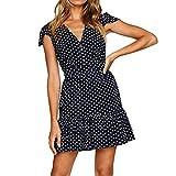 CLEARANCE! MEIbax Frauen Sommer Dot gedruckt Kleid V-Ausschnitt Knopf beiläufige lose Strandkleid (Marine, S)