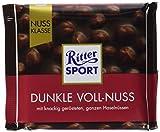 Ritter Sport Nuss Klasse Dunkle Voll-Nuss Tafelschokolade, 10er Pack (10 x 100 g)